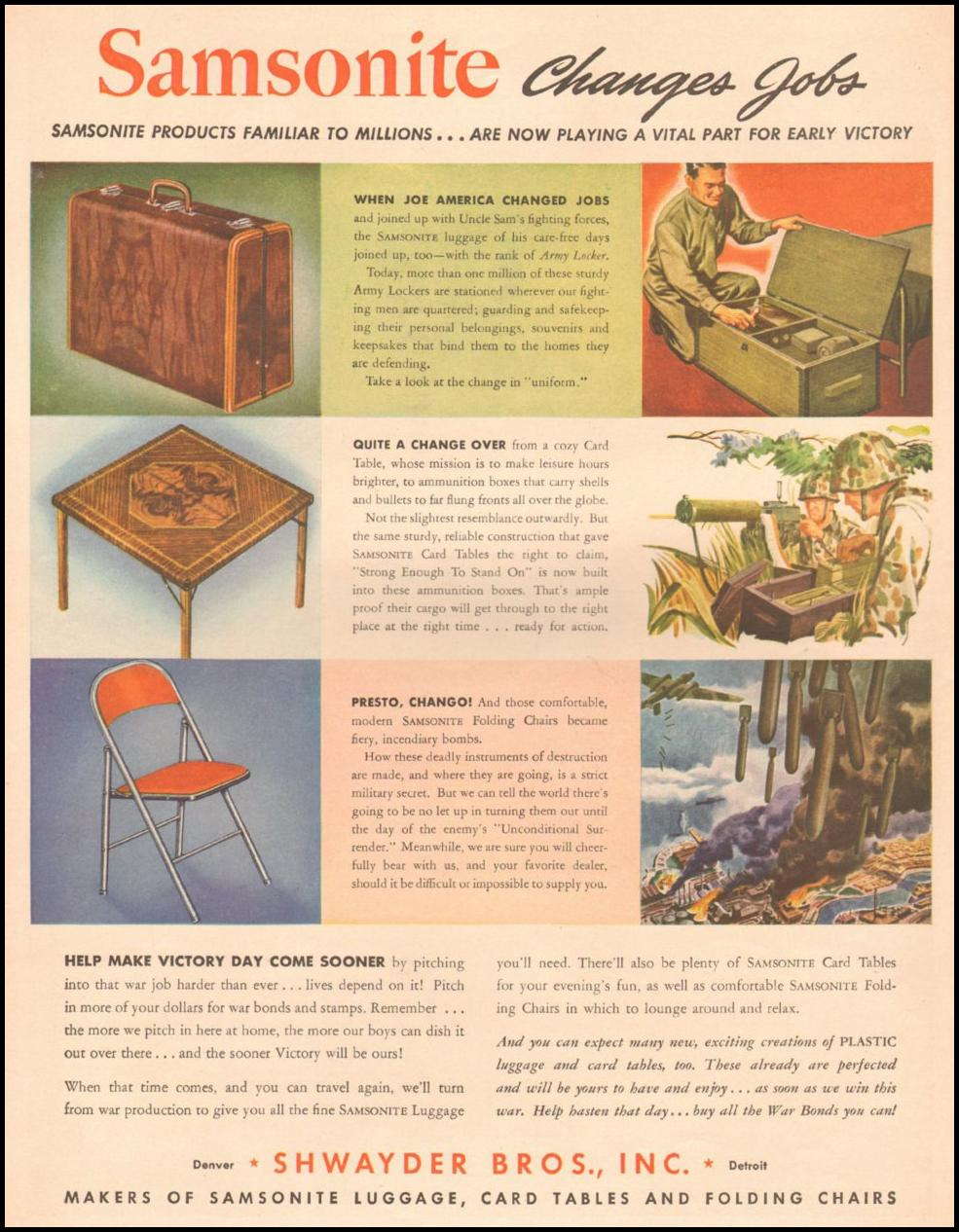 SAMSONITE WAR PRODUCTION LIFE 10/25/1943