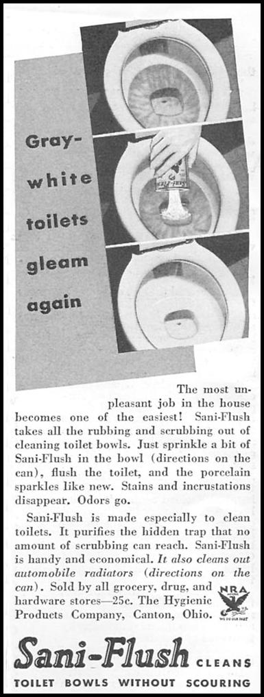 SANI-FLUSH TOILET BOWL CLEANER GOOD HOUSEKEEPING 06/01/1935 p. 214
