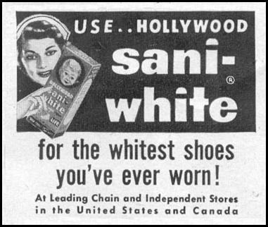 HOLLYWOOD SANI-WHITE SHOE POLISH LIFE 07/12/1954 p. 40