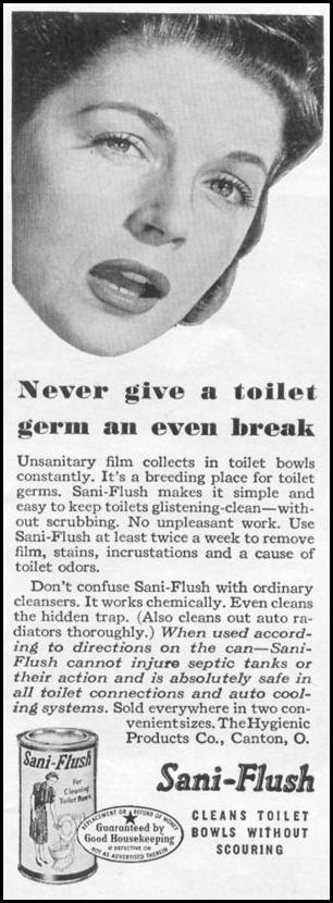 SANI-FLUSH TOILET BOWL CLEANER LIFE 11/02/1942 p. 119