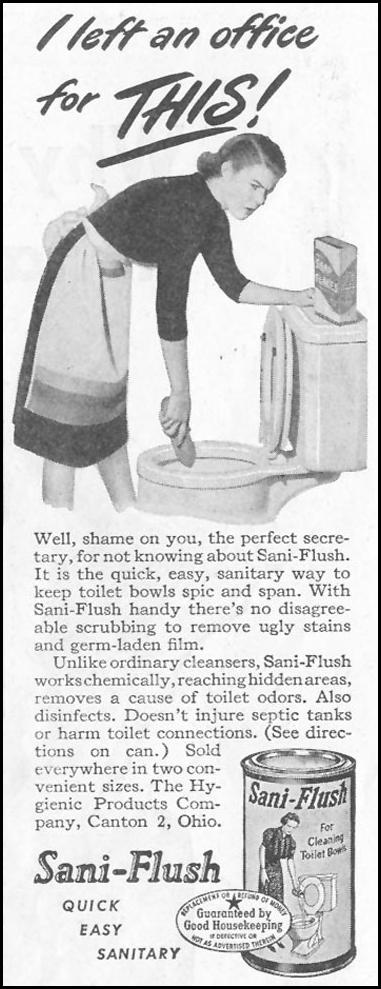 SANI-FLUSH SATURDAY EVENING POST 10/06/1945 p. 46