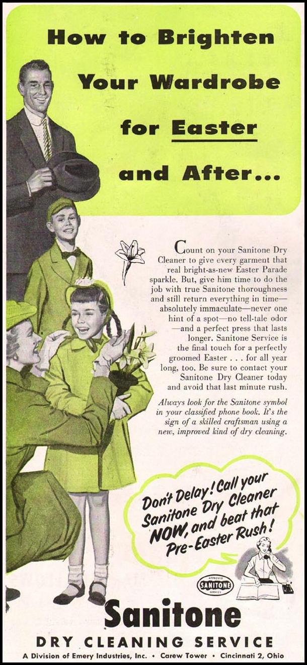 SANITONE DRY CLEANING SERVICE LADIES' HOME JOURNAL 03/01/1954 p. 168