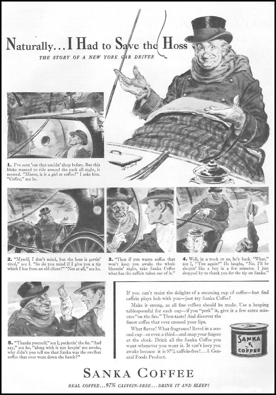 SANKA COFFEE GOOD HOUSEKEEPING 04/01/1936 p. 125
