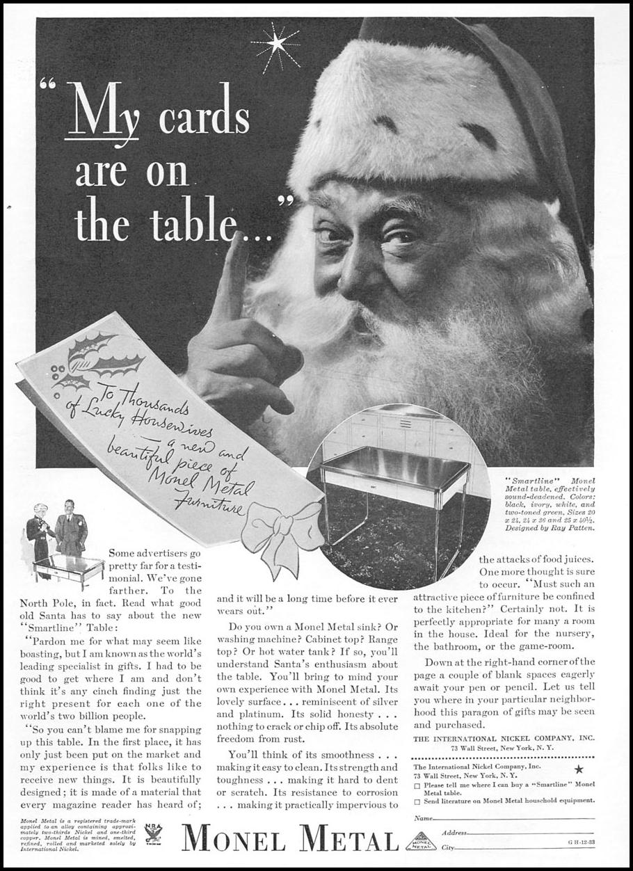 MONEL METAL GOOD HOUSEKEEPING 12/01/1933 p. 207