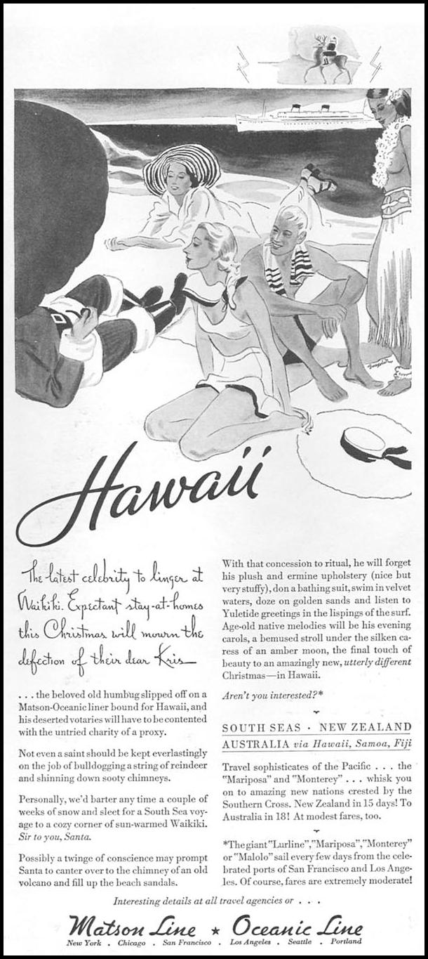 HAWAIIAN CRUISES GOOD HOUSEKEEPING 12/01/1933 p. 208