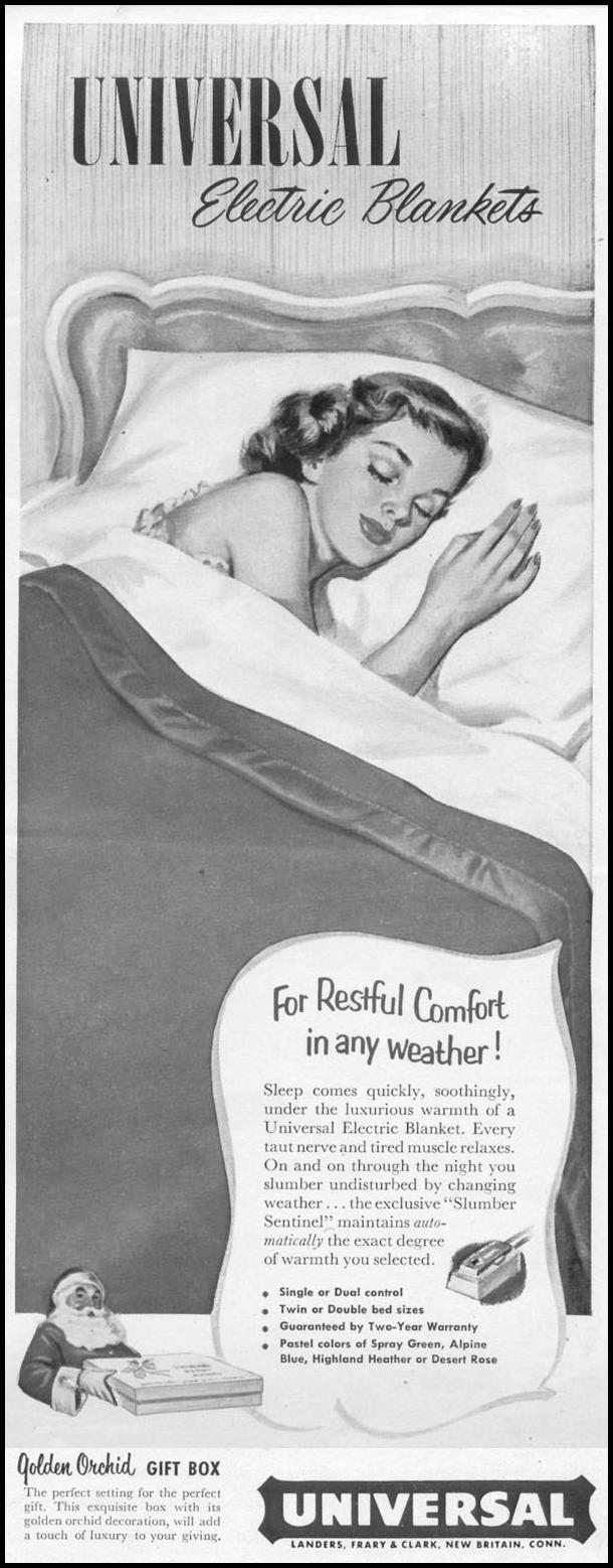 UNIVERSAL ELECTRIC BLANKETS LIFE 10/13/1952 p. 68