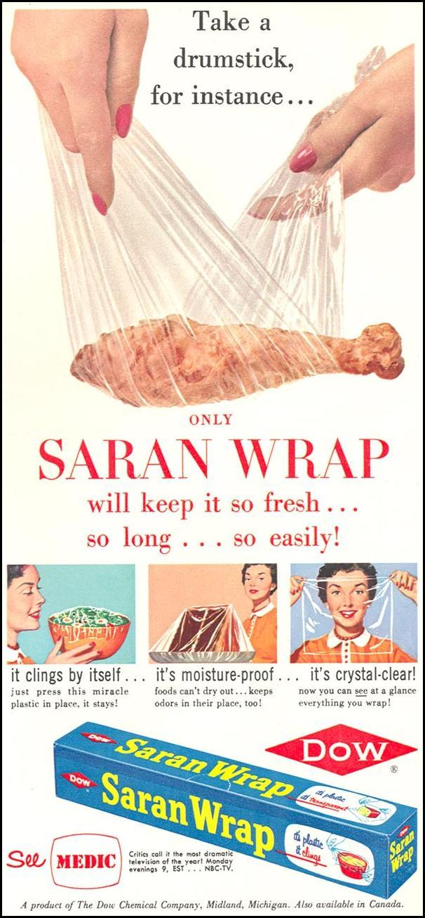 SARAN WRAP WOMAN'S DAY 12/01/1954 p. 75