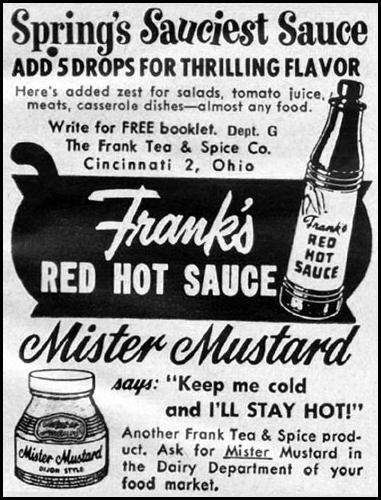 FRANK'S RED HOT SAUCE GOOD HOUSEKEEPING 05/01/1957 p. 271