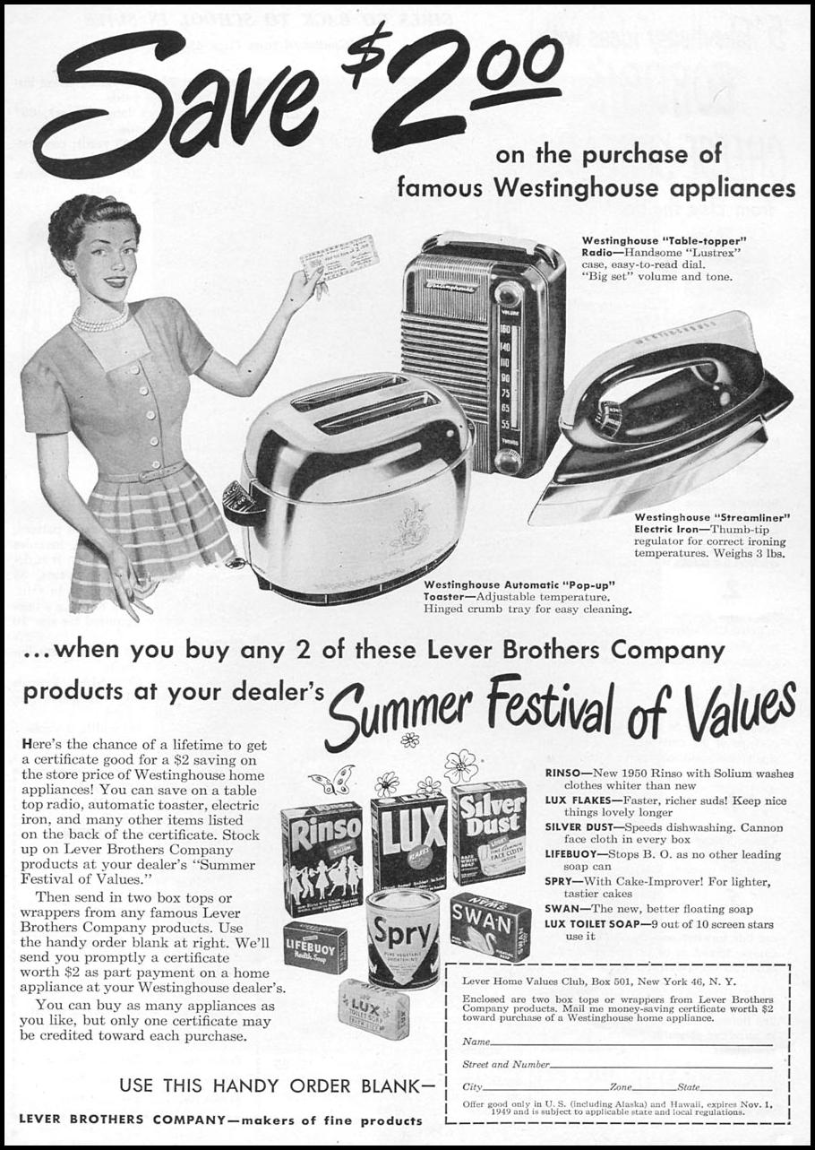 LEVER BROTHERS PRODUCTS WOMAN'S DAY 08/01/1949 p. 57