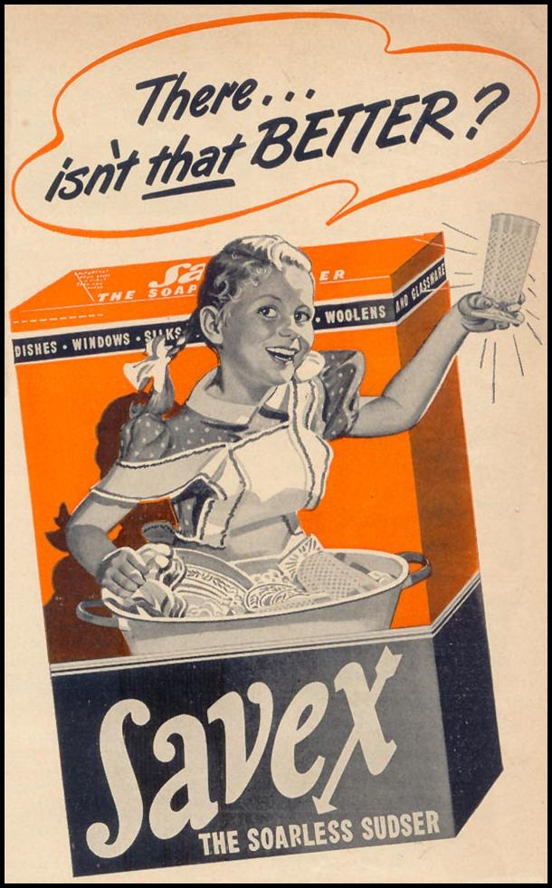 SAVEX SOAPLESS SUDSER WOMAN'S DAY 09/01/1947 p. 121