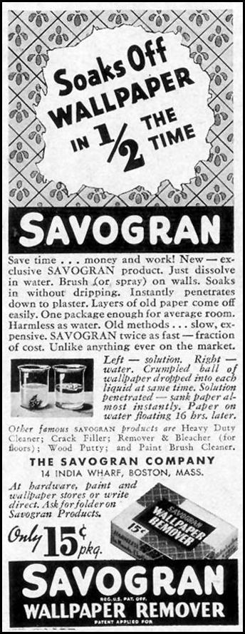 SAVOGRAN WALLPAPER REMOVER LIFE 09/13/1937 p. 82