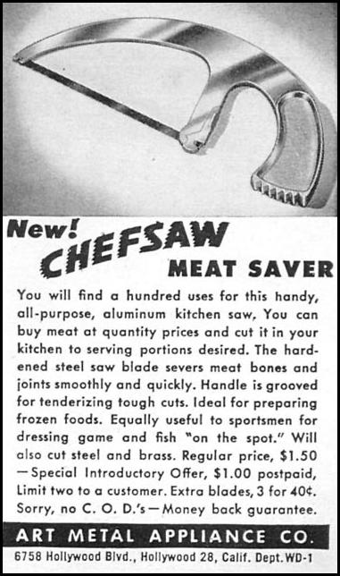 CHEFSAW ALL-PURPOSE ALUMINUM KITCHEN SAW WOMAN'S DAY 04/01/1949 p. 117