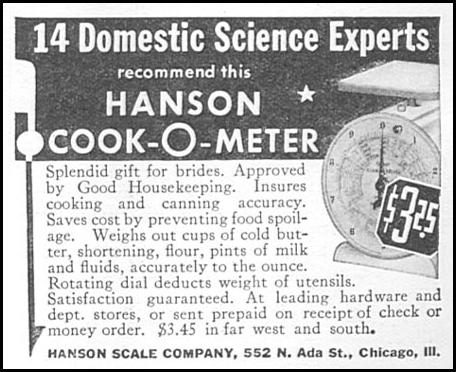 HANSON COOK-O-METER SCALE GOOD HOUSEKEEPING 06/01/1935 p. 204