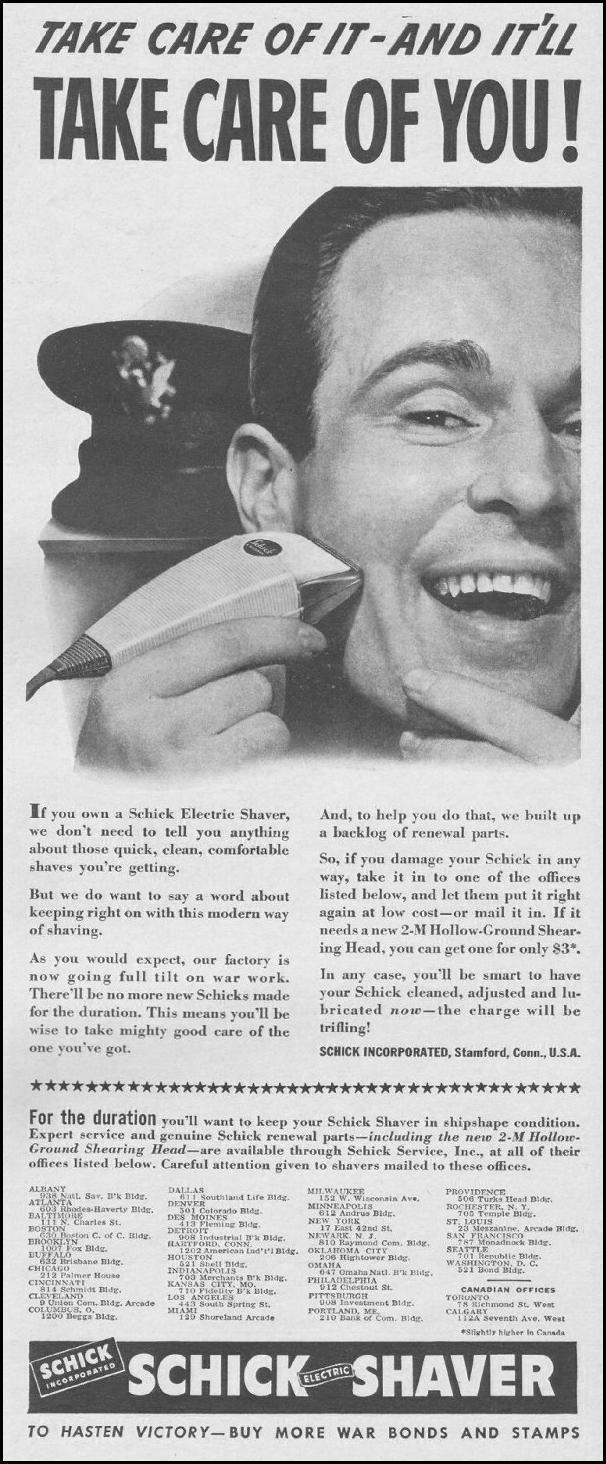 SCHICK ELECTRIC SHAVER LIFE 06/22/1942 p. 39