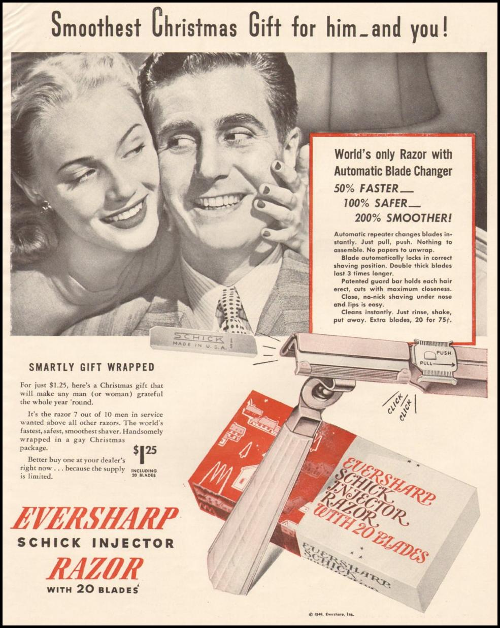 SCHICK INJECTOR RAZOR AND BLADES LIFE 11/25/1946 p. 71