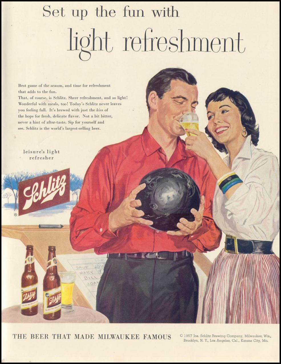 SCHLITZ BEER LIFE 01/21/1957 INSIDE BACK