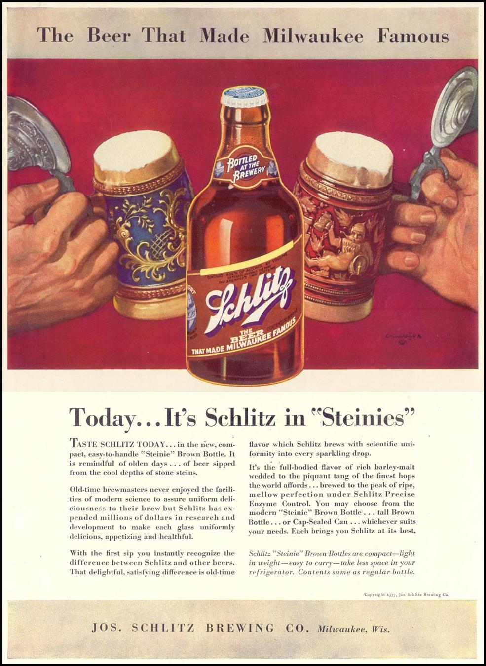 SCHLITZ BEER LIFE 08/09/1937