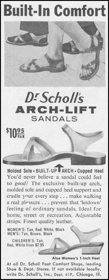 DR. SCHOLL'S  ARCH-LIFT SANDALS SATURDAY EVENING POST 06/11/1960 p. 88