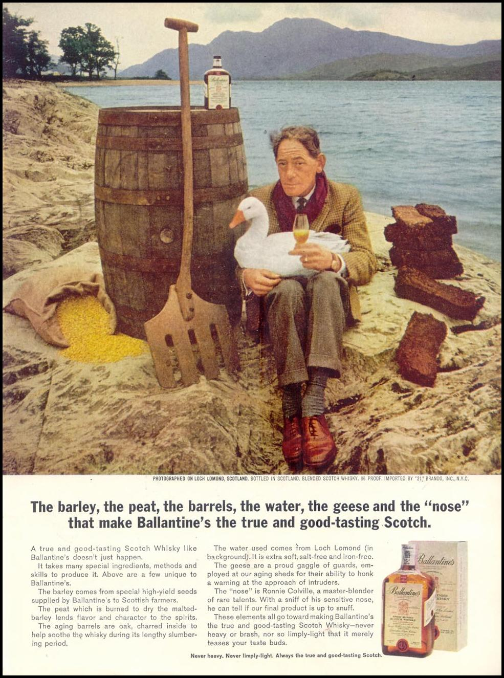 BALLANTINE'S SCOTCH WHISKEY TIME 10/25/1963 INSIDE BACK