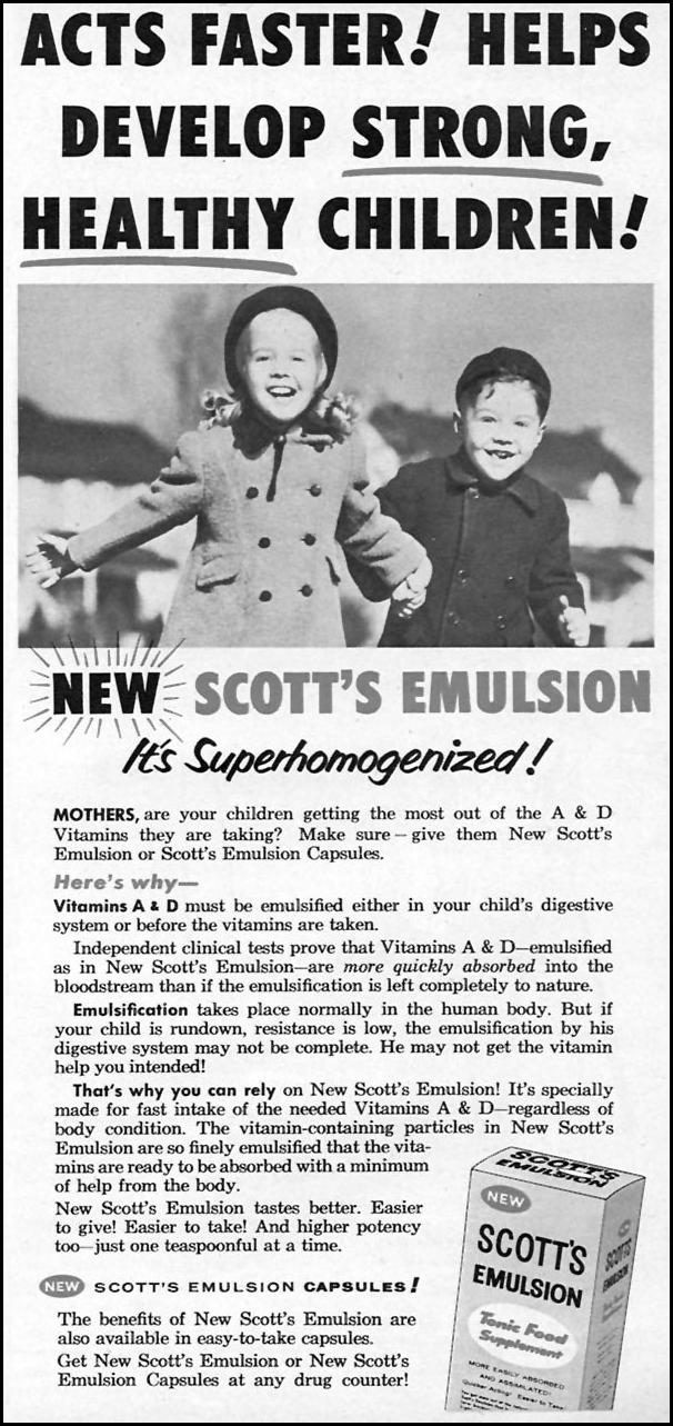 SCOTT'S EMULSION TONIC FOOD SUPPLEMENT FAMILY CIRCLE 01/01/1956 p. 41