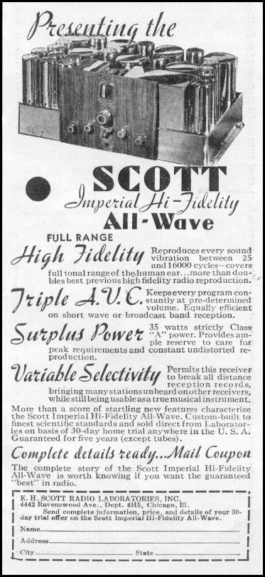 SCOTT IMPERIAL HI-FIDELITY ALL-WAVE RADIO NEWSWEEK 05/04/1935 p. 39