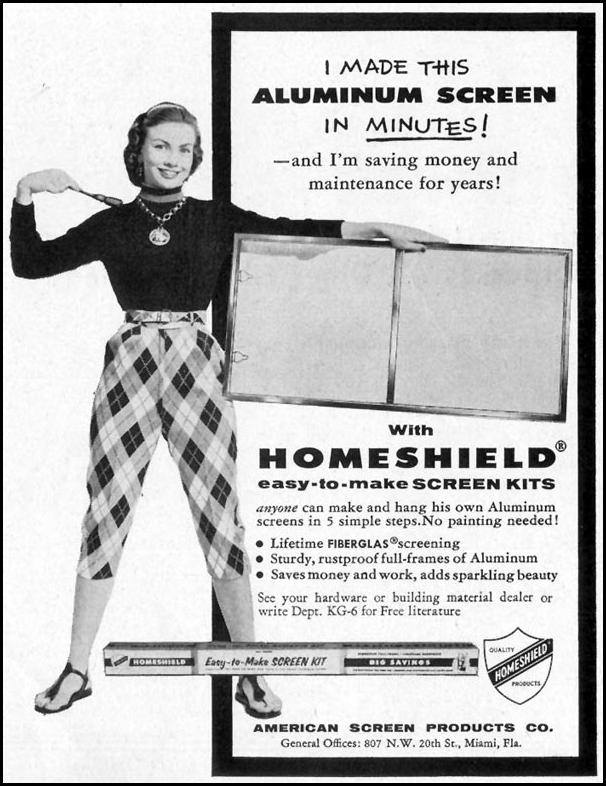 HOMESHIELD EASY-TO-MAKE SCREEN KITS SATURDAY EVENING POST 06/04/1955 p. 111