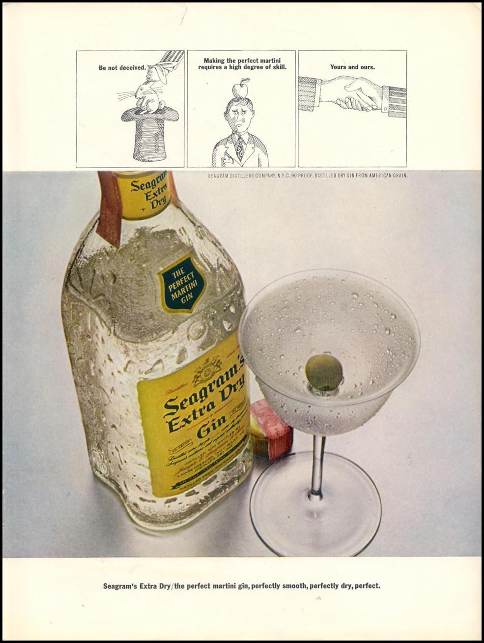 SEAGRAM'S EXTRA DRY GIN TIME 04/21/1967 INSIDE BACK