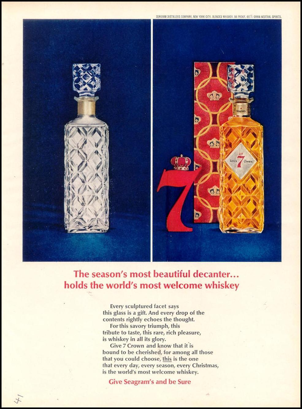 SEAGRAM'S SEVEN CROWN WHISKEY TIME 12/07/1962 p. 41