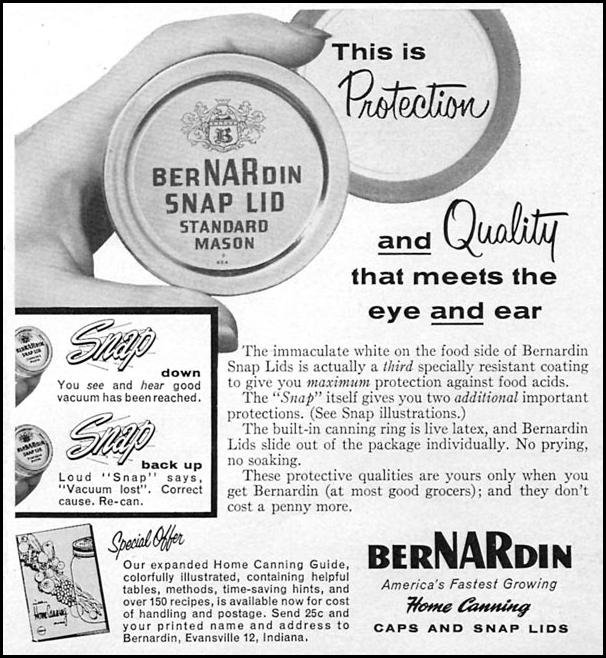 BERNARDIN HOME CANNING CAPS AND SNAP LID WOMAN'S DAY 06/01/1958 p. 85