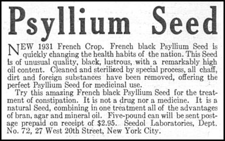 PSYLLIUM SEED NATURAL LAXATIVE GOOD HOUSEKEEPING 01/01/1932 p. 171