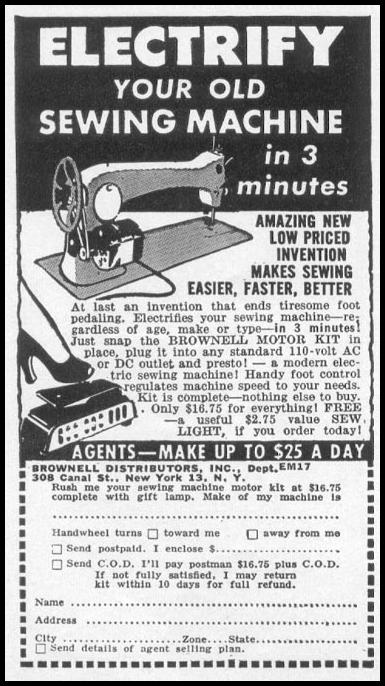BROWNELL SEWING MACHINE MOTOR KIT WOMAN'S DAY 10/01/1949 p. 134