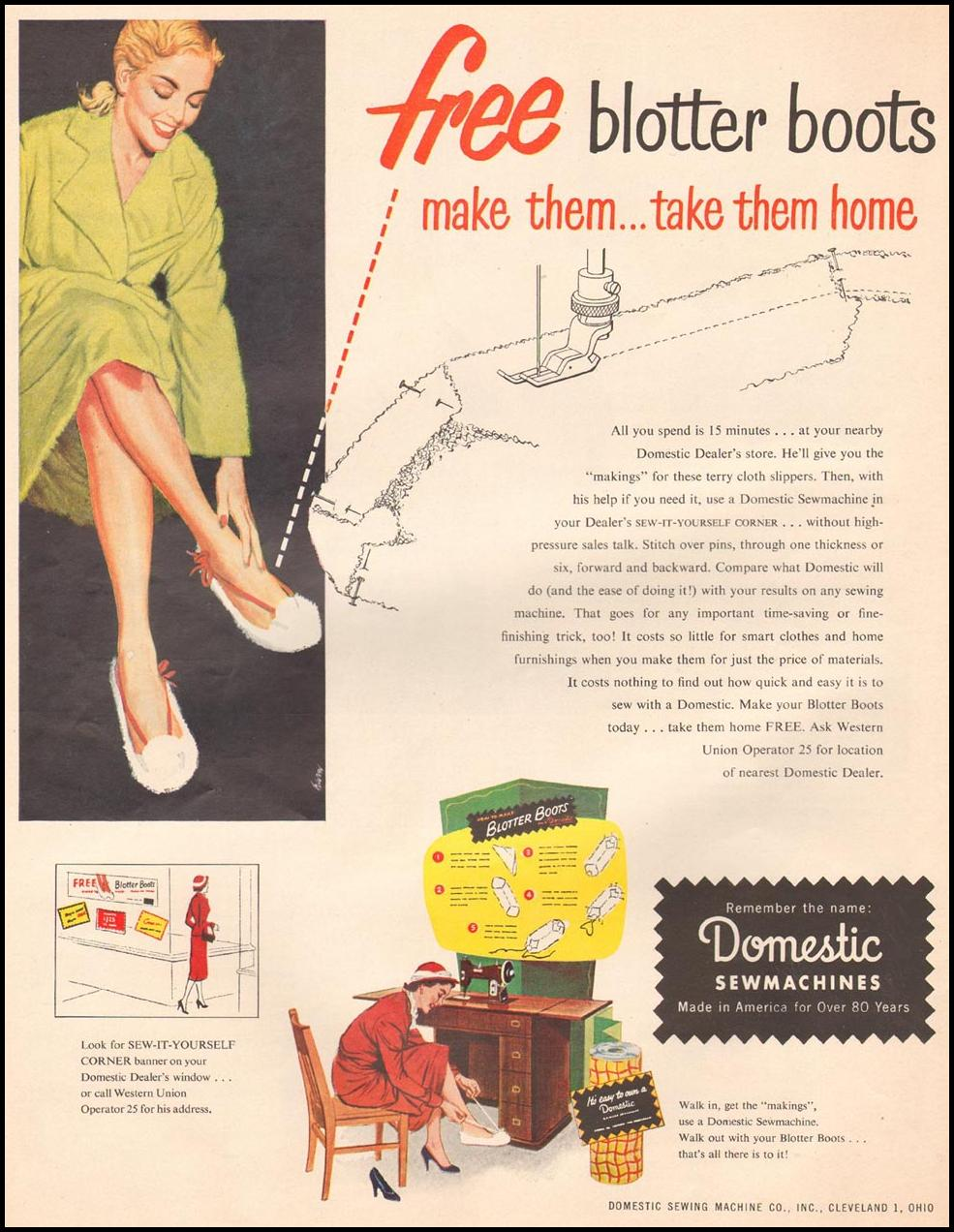 DOMESTIC SEWMACHINES LIFE 10/01/1951