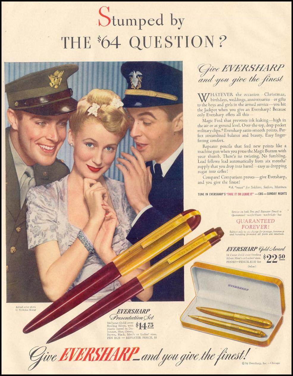 EVERSHARP PEN & PENCIL SETS LIFE 11/30/1942