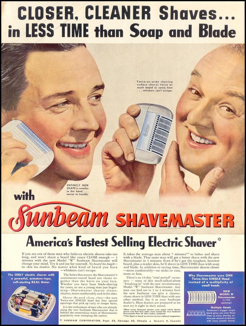 SUNBEAN SHAVEMASTER ELECTRIC SHAVER LIFE 04/17/1950 p. 89