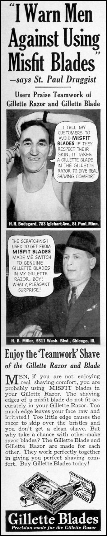 GILLETTE RAZORS AND BLADES LIFE 08/09/1937 p. 5