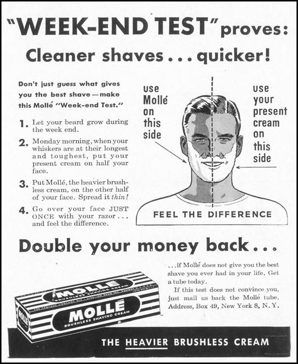 MOLLE BRUSHLESS SHAVING CREAM LIFE 10/11/1948 p. 119