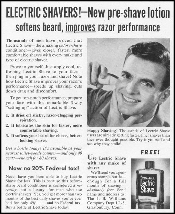 LECTRIC SHAVE PRE-SHAVE CONDITIONER LIFE 10/13/1952 p. 156
