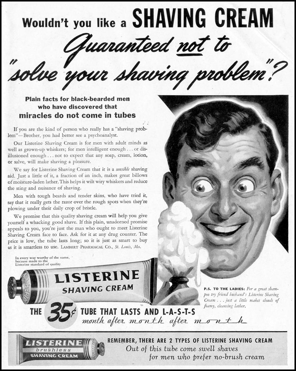 LISTERINE SHAVING CREAM LIFE 11/08/1943 p. 1