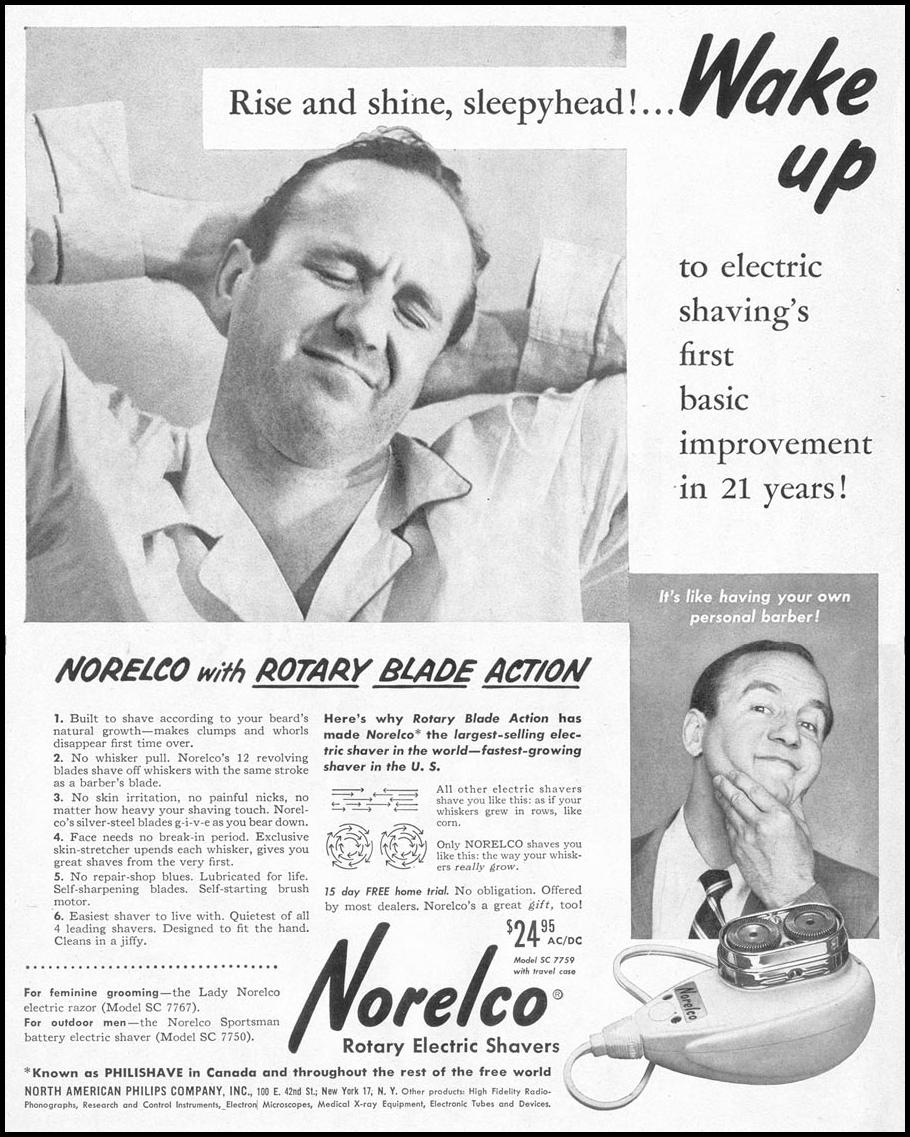 NORELCO ROTARY ELECTRIC SHAVERS LIFE 11/14/1955 p. 12