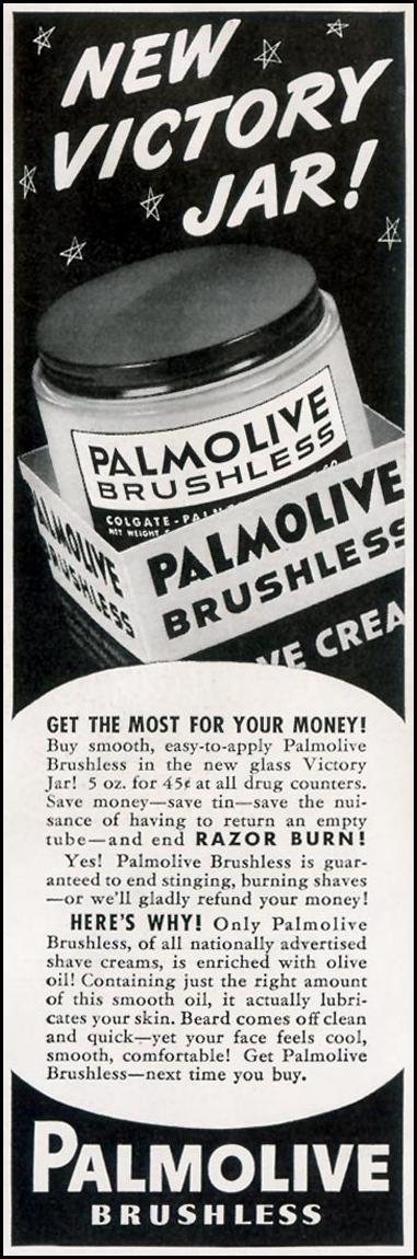 PALMOLIVE BRUSHLESS SHAVE CREAM LIFE 11/30/1942 p. 100