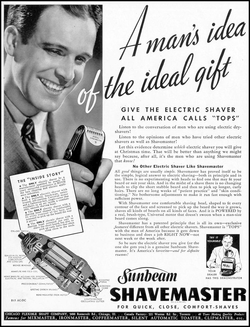 SUNBEAM SHAVEMASTER ELECTRIC RAZOR LIFE 12/12/1938 p. 1