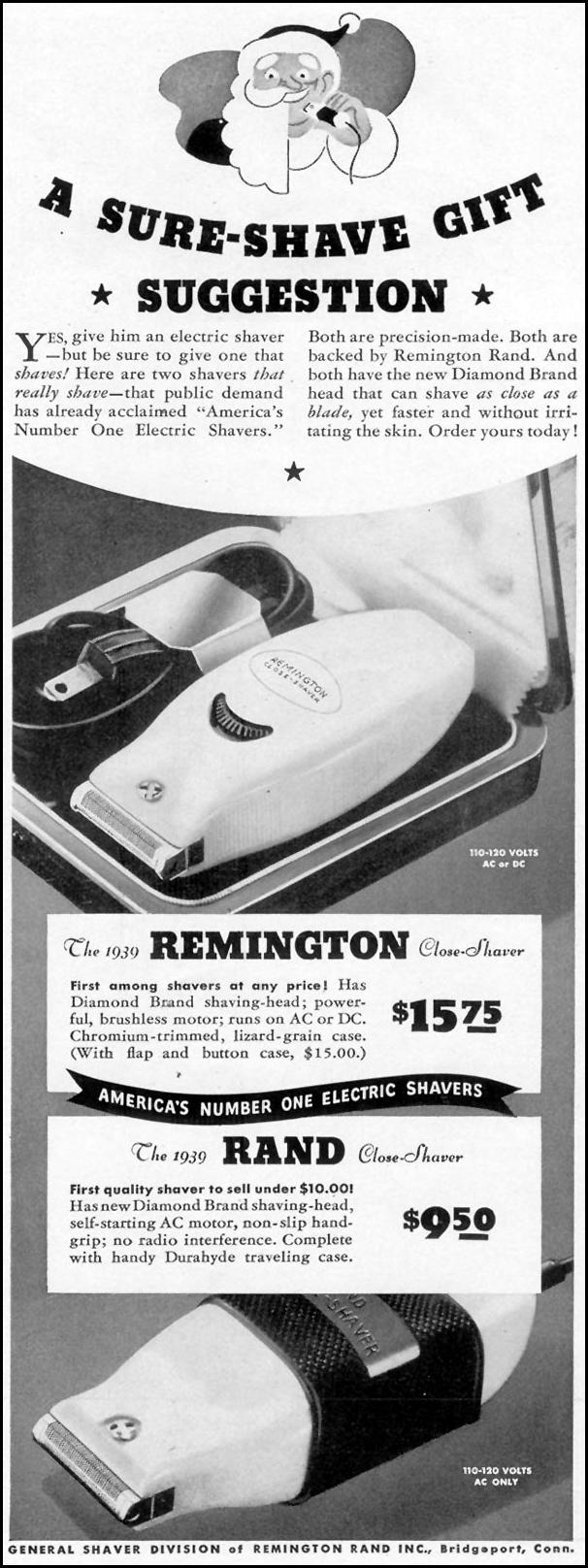 REMINGTON ELECTRIC SHAVERS LIFE 12/12/1938 p. 9