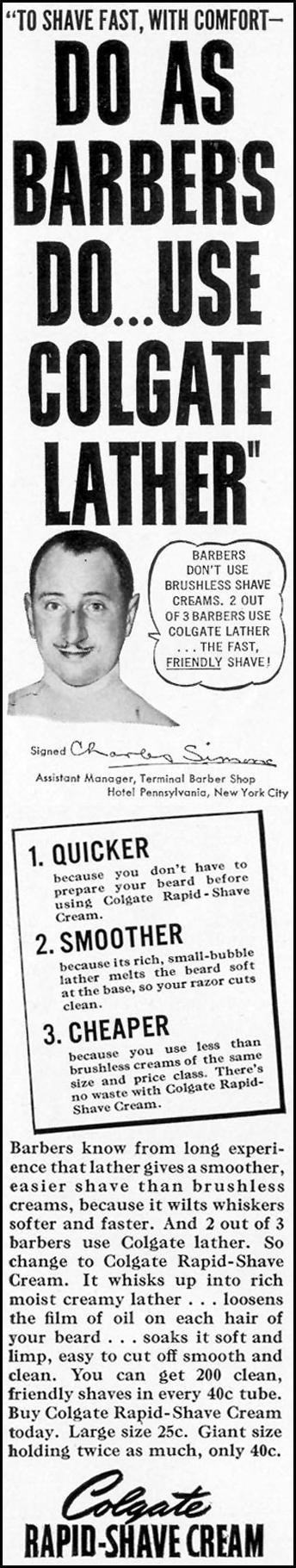 COLGATE RAPID-SHAVE CREAM LIFE 12/12/1938 p. 78