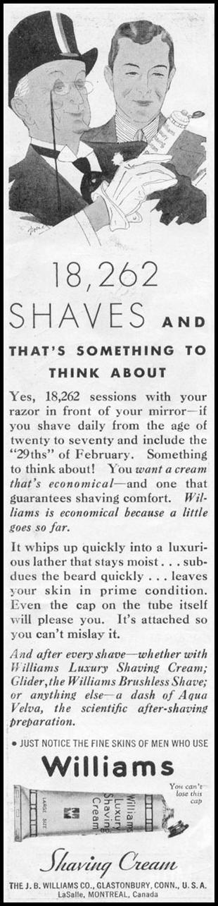 WILLIAMS SHAVING CREAM NEWSWEEK 05/04/1935 p. 30