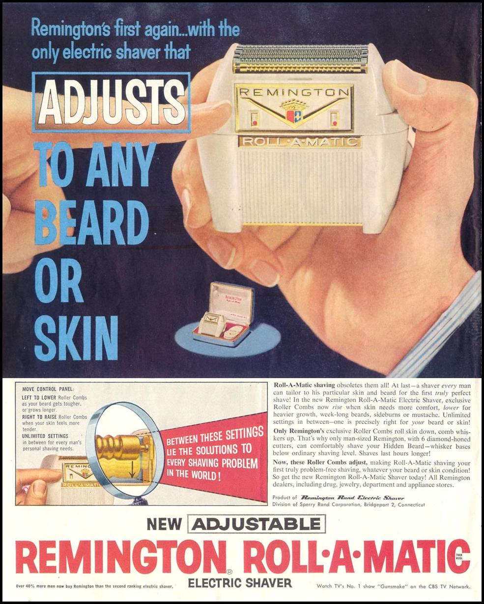 REMINGTON ROLL-A-MATIC ELECTRIC RAZOR SATURDAY EVENING POST 05/02/1959