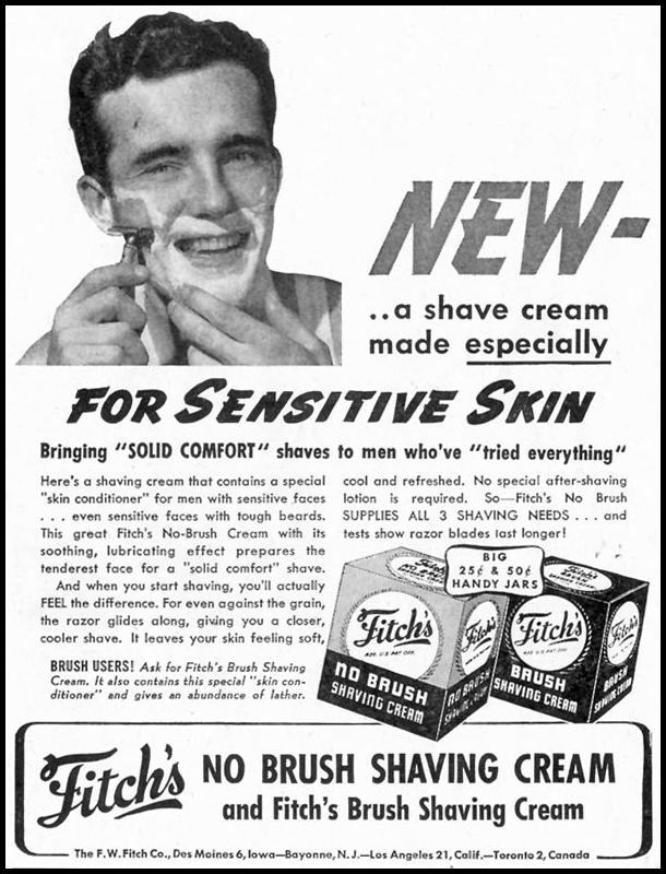 FITCH'S NO BRUSH SHAVING CREAM SATURDAY EVENING POST 10/06/1945 p. 82