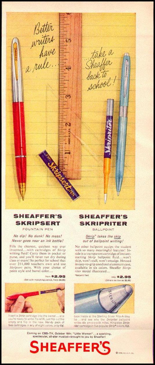 SKRIPSERT FOUNTAIN PEN AND SKRIPRITER BALLPOINT PEN LOOK 09/16/1958 p. 61