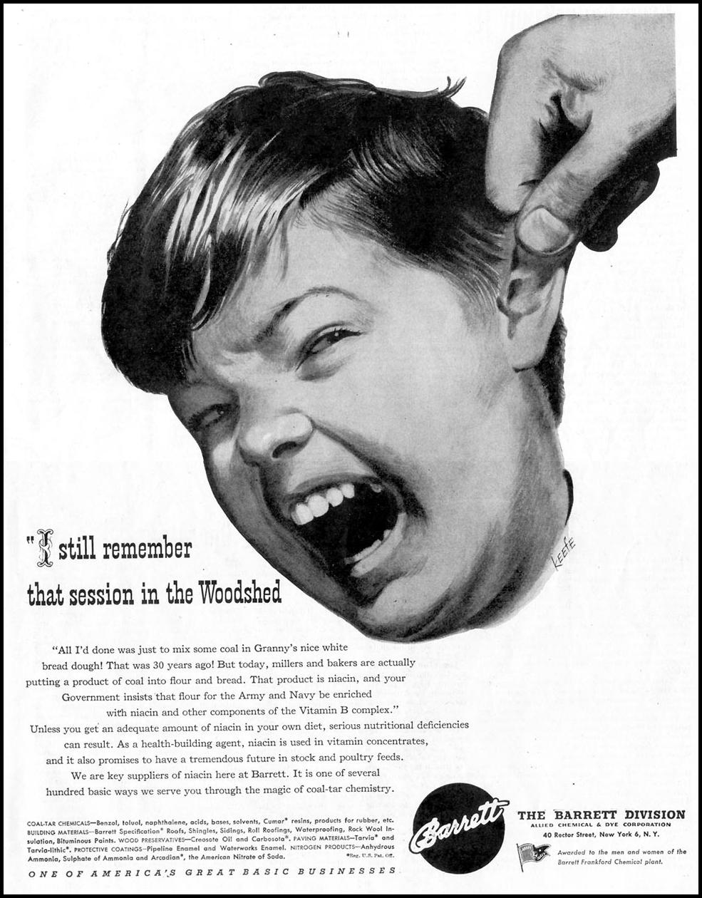 BARRETT COAL-TAR CHEMICALS SATURDAY EVENING POST 05/19/1945 p. 107
