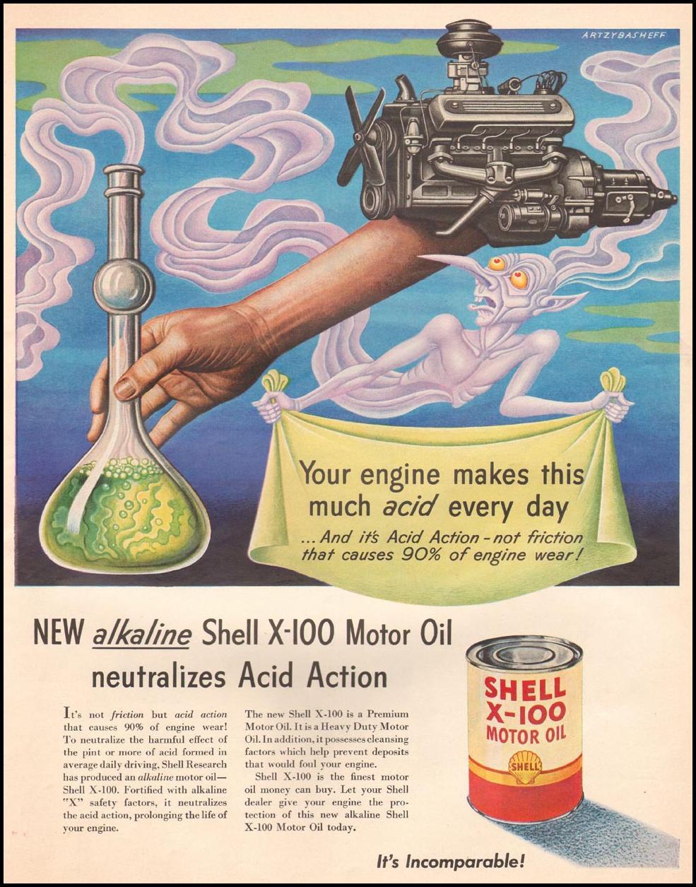 SHELL X-100 MOTOR OIL LIFE 10/01/1951