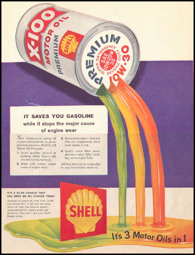 SHELL X-100 MOTOR OIL LOOK 09/16/1958